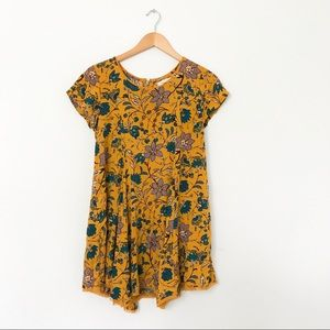UO Silence + Noise Mustard Floral Mini Dress